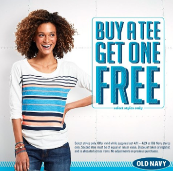 Old Navy: Buy 1 Tee Get 1 Tee Free Sale + $15 Off $75 Purchase Coupon