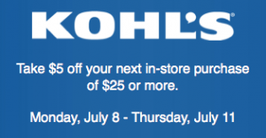 kohl's coupon July