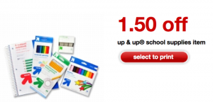 target up & up school supplies coupon