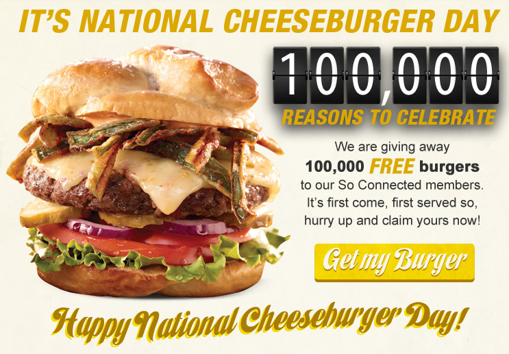 free burger Ruby Tuesday
